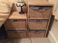 Gingham fabric lined basket drawers