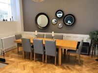 Beautiful much loved Habitat solid oak extending table and 8 chairs