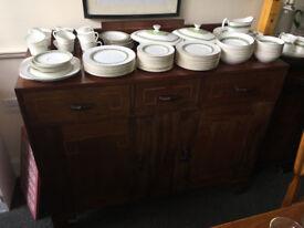 Delightful Vintage Rustic Art Deco Hardwood Buffet Sideboard Server