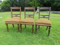 3 Antique Chairs With Sprung Bases