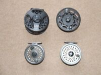 Ron Thomson hyperspeed reel and spare spool with 2 vintage rimfly reels.......£40.00