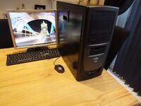 intel core 2 quad Q8300 4 gb ram (ddr3) flat screen monitor, keyboard, mouse