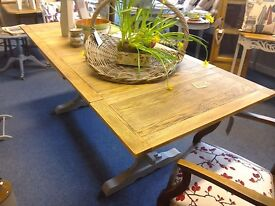 STRIPPED OAK draw leaf table SOLD NOW
