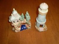 VINTAGE ORIENTAL SCENE ORNAMENT AND LIGHTHOUSE ORNAMENT