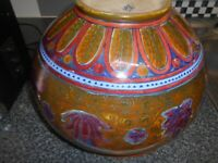OLD HAND PAINTED ORIENTAL ARTIST CHINESE/JAPANESE ART POTTERY POT VASE, SIGNED - 100 years old