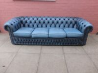 A Blue Leather Chesterfield Four Seater Sofa