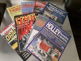 Collection of 7 used chevrolet V8 holley drag racing paperback workshop manuals.