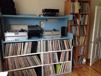 Record collection and DJ equipment