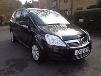 black zafira 1.6 petrol manual, seven seater , 2008 , JO03JKY private plate