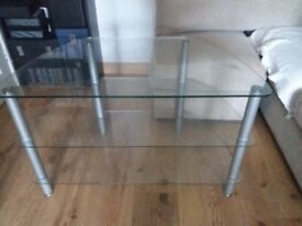 glass corner tv table with brushed chrome legs