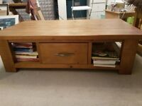 SOLID OAK COFFEE TABLE AND 2 MATCHING LAMP TABLES