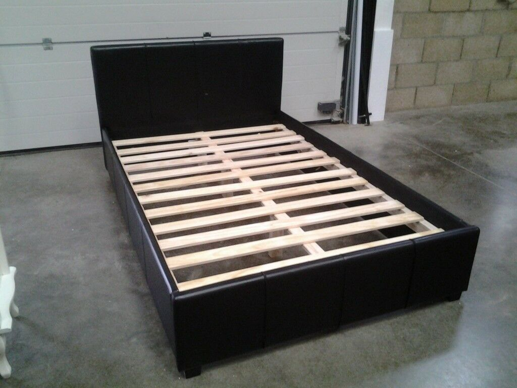 Small Double Bed Frame 4 Foot Size Black Faux Leather Bargain