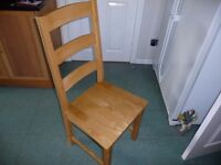 Set of six wooden dining room chairs