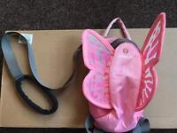 Butterfly little life back pack and toddler strap