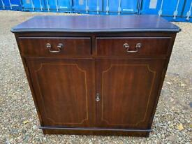 Flamed Mahogany cupboard & drawers unit with key