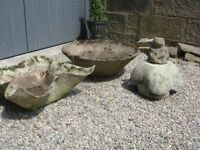 Natural Stone reclaimed Planters/Bowl Shape and Frog Ornament