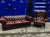 🔥🎉 IMMACULATE CHESTERFIELD LEATHER SUITE SOFA & WINGBACK QUEEN ANNE CHAIR