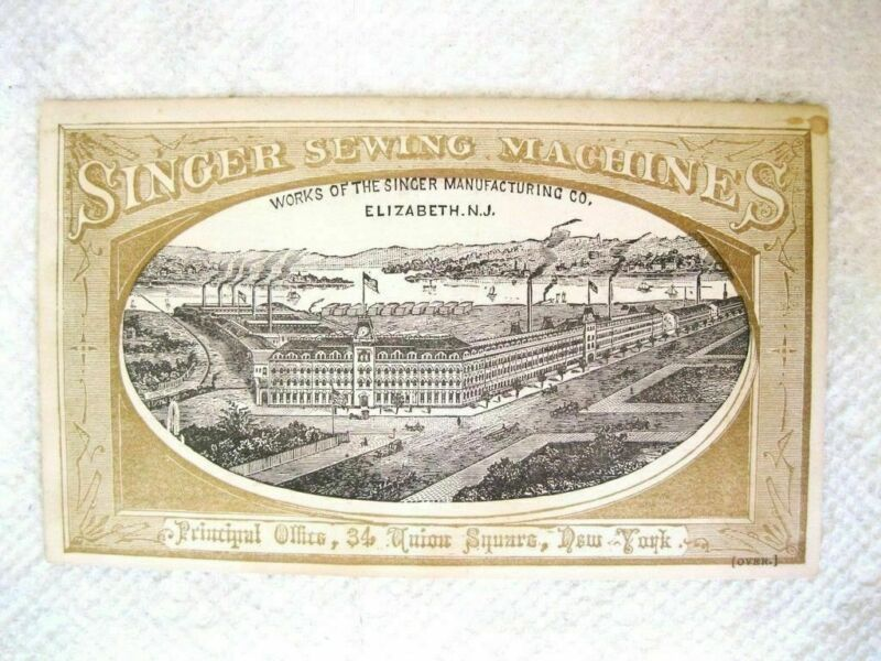 "trade card @1878 SINGER MANUFACTURING CO. Elizabeth NJ  5.5x3.5"" sewing machines"