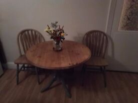 Shabby chic table and two chairs good condition