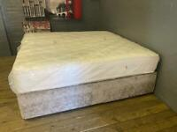 SILVER CRUSHED VELVET DIVAN BED BASE WITH DRAWERS AND MATTRESS IN EXCELLENT CONDITION