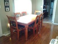 solid wood and wrought iron harvest table / 8 chairs