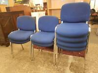 Blue fabric office stacking chairs (priced individually)