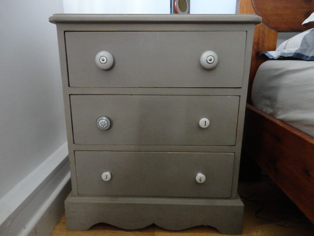 2 Lovely Vintage Bedside Tables / Cabinets, 3 drawers, Painted ...