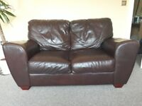 Brown real leather sofas + FREE maintenance products