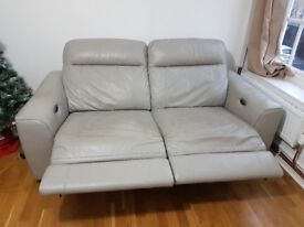 Paloma Electric Recliner Sofa and Chair Set, Good Condition, Full Leather, Grey.