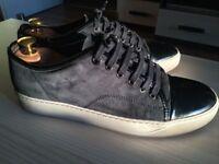 EASTER SALE! Luxurious Lanvin Toe Cap mens calf skin sneakers navy blue, 43/uk8, RRP £315