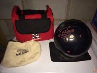 MJ slam bowling ball, bag and buffer