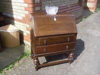 Lovely Vintage Oak Writing Bureau Desk 30's 40's Era