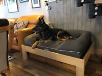 Large Raised Wooden Dog bed - homemade