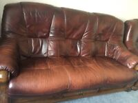 3 piece leather sofa brown