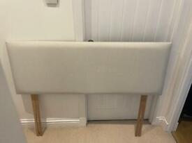 Silver/light grey double bed headboard
