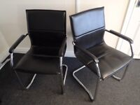 Black Leather and Chrome Office Chairs, Pair