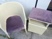 **shabby chic bedroom chair & matching bedside cabinet. Lloyd loom**