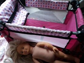 Dolls travel cot and accessories