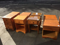 Pair of pine bedsides , 3 drawers in each unit , bun feet .£50
