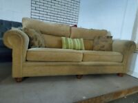 Quality 3 seater sofa gold Fabric Settee Deliv Poss