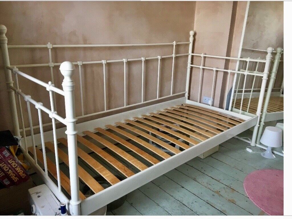 Ikea Tromsnes Single White Metal Day Bed And Trundle Bed