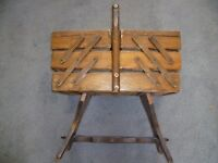 old wooden sewing box