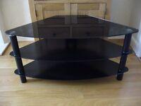 Serano black tempered glass corner TV stand S100CG12X