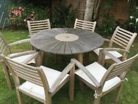 Wooden table and chairs patio set