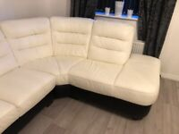 DFS Corner sofa with foot puff and swivel chair with foot puff.