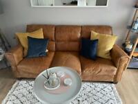 2 + 3 seater tan leather sofa £500 ono