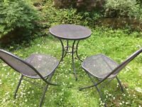 Bistro metal table and 2 chairs for the garden