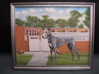 Racing Greyhound Oil Painting of Lowland Bully North England Champion Signed C.Wynd 89