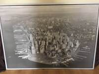 Large (4ft x 3ft) old New York Skyline print and frame