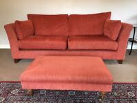 Two Three Seater Fabric Sofas and a Footstool Set